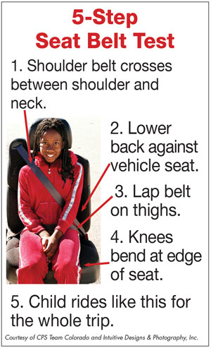 5 step seat belt fit test